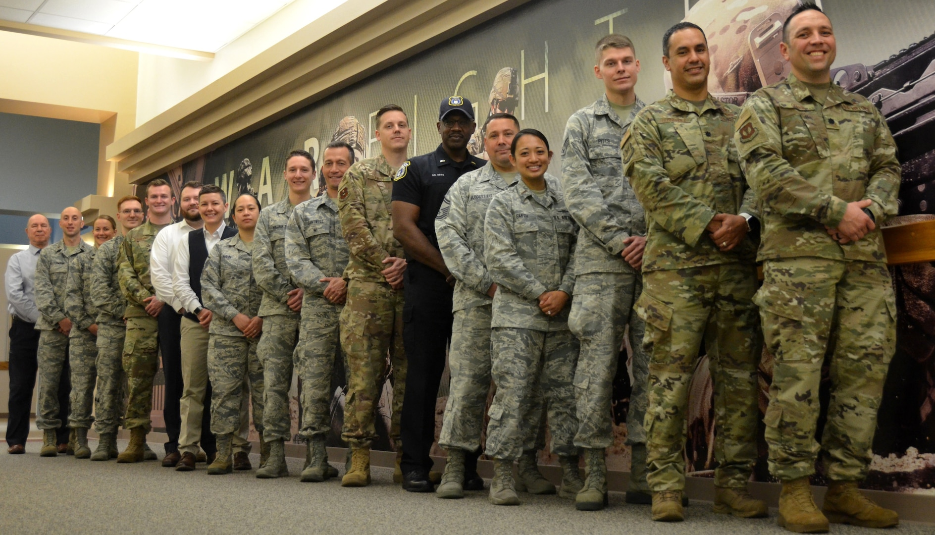 2019 Innovation Rodeo teams take a few minutes for a group photo at Air Force Installation and Mission Support Center headquarters at Joint Base San Antonio-Lackland Feb. 28.