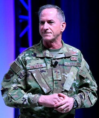 Air Force Chief of Staff Gen. David L. Goldfein gives remarks during the Air Force Association's Air Warfare Symposium in Orlando, Florida March 1.