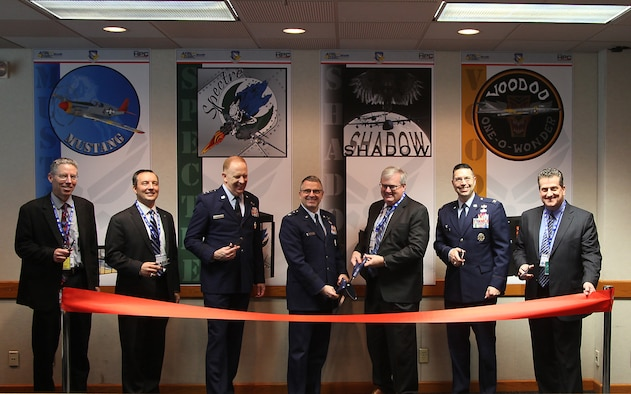 Members of Wright-Patterson Air Force Base and Department of Defense leadership cut the ribbon for a new DOD super computer capability located at Wright-Patterson Air Force Base, Ohio, Feb. 26. This is the first-ever shared classified Department of Defense high performance computing capability. (Courtesy photo)
