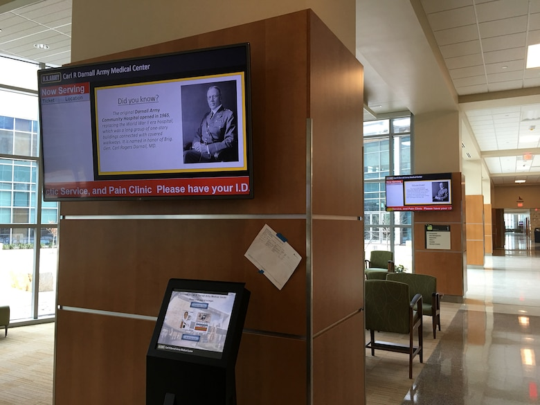 Huntsville Center's Facility Technology Integration - Medical (FTI-Medical) program implements facility communication distribution systems like this patient service ticketing kiosk inside Carl R. Darnall Army Medical Center at Fort Hood, Texas.