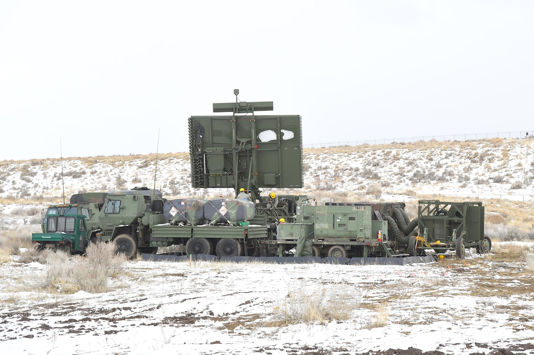Airmen with the 729th Air Control Squadron set up the radar Feb. 5, 2019, during a readiness exercise at Hill Air Force Base, Utah. The evolution was part of an exercise to mobilize and set up a deployed radar location and control reporting center. (U.S. Air Force photo by Todd Cromar)