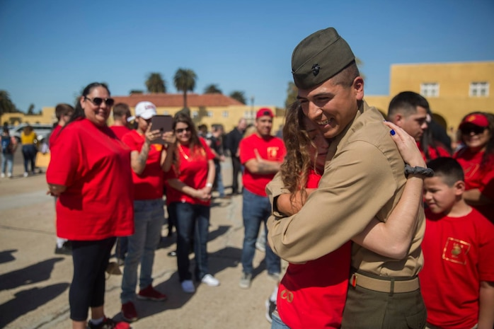 The new Marines of Charlie Company, 1st Recruit Training Battalion, reunite with their loved ones during Family Day at Marine Corps Recruit Depot San Diego, Feb. 28.