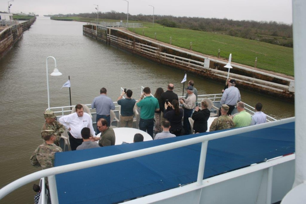 The Inland Waterways Users Board met February 28, 2019 for their 90th meeting.  Morning presentations were given at Texas A&M University at Galveston, followed by an afternoon field trip to the Colorado River Locks, navigational structures managed by the U. S. Army Corps of Engineers.  Major General Scott A. Spellmon, the Deputy Commanding General for Civil and Emergency Operations and Executive Director of the Board and Mr. Thomas P. Smith, Chief of Operations and Regulatory of USACE HQ were in attendance.  This Board was established by industry and leaders in navigation and transportation to promote safe and efficient inland navigation.