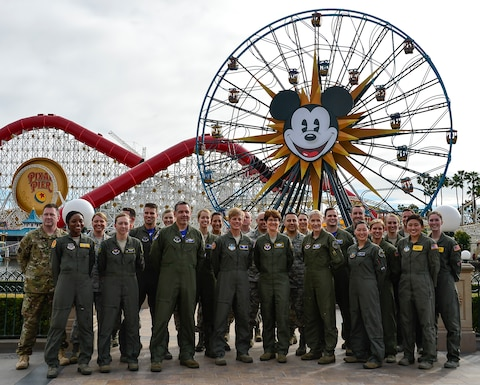 "U. S. Air Force, (r-l) Brig. Gen. Jeannie Leavitt, Lt. Gen. Jacqueline Van Ovost, Brig. Gen. Kristin Goodwin, Col. Daniel Kelly and members of the U. S. Air Force and California Air National Guard join together at Disney California Adventure Park in Anaheim, Calif., March 3, 2019, prior to the release of Marvel Studios' ""Captain Marvel"" that debuts in theaters on March 8, 2019."