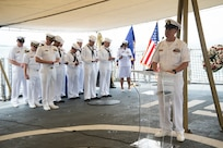 The ceremony was held to honor the American and Australian crews of USS Houston (CA 30) and HMAS Perth (D 29) that lost their lives in battle against the Japanese Imperial Navy during World War II.