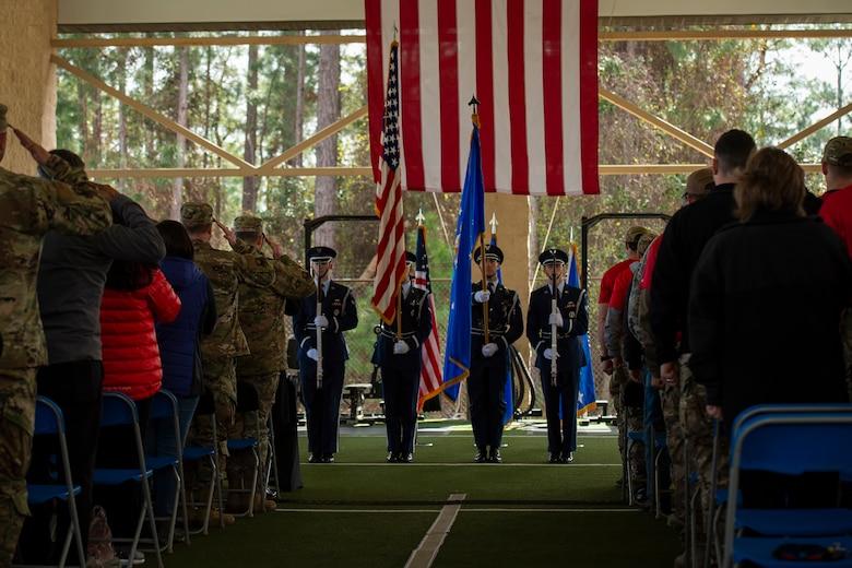 Hurlburt Field base honor guard members present the colors during the Special Tactics Ruck March Memorial Ceremony at Hurlburt Field, Florida, March 4, 2018.