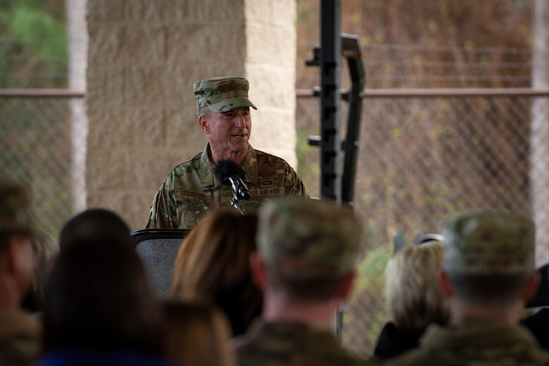 Air Force Chief of Staff Gen. David L. Goldfein gives remarks during the Special Tactics Ruck March Memorial Ceremony at Hurlburt Field, Florida, March 4, 2018.