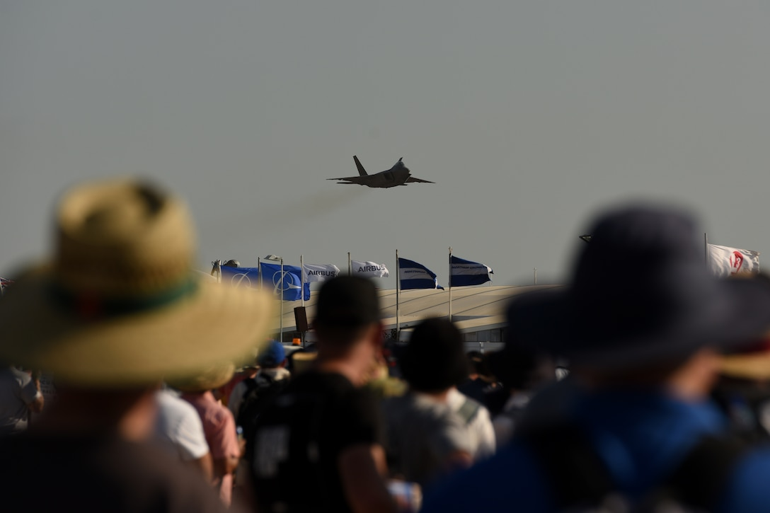 A U.S. Air Force F-22 Raptor assigned to Joint Base Elmendorf-Richardson, Alaska, flies over Avalon International Airport during the 2019 Australian International Airshow and Aerospace & Defence Exposition (AVALON 2019) at Geelong, Victoria, Australia, March 1, 2019.