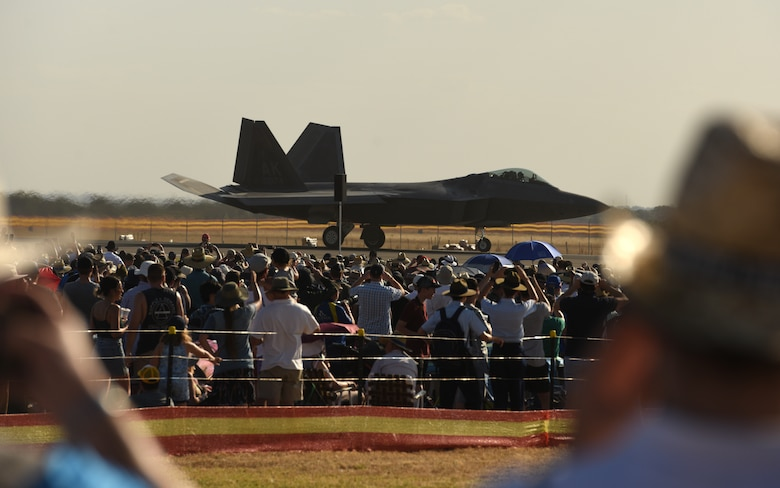A U.S. Air Force F-22 Raptor assigned to Joint Base Elmendorf-Richardson, Alaska, taxis down the flightline during the 2019 Australian International Airshow and Aerospace & Defence Exposition (AVALON 2019) at Geelong, Victoria, Australia, March 1, 2019.