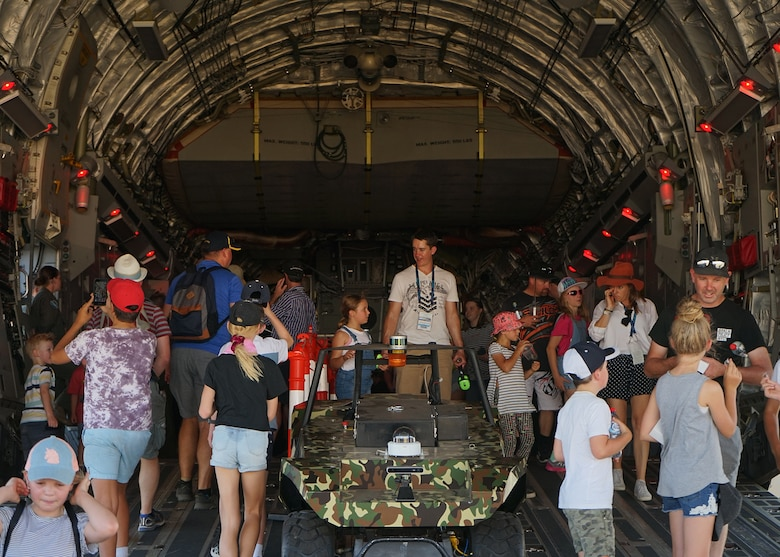 Visitors tour the inside of a C-17 Globemaster III at the 2019 Australian International Airshow and Aerospace & Defence Exposition (AVALON 19) in Geelong, Victoria, Australia, March 1, 2019.