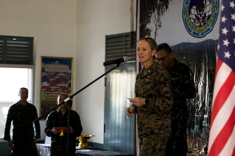 U.S. Marine Corps Col. Maura Hennigan speaks to Royal members of Thai Armed Forces and U.S. Marines during the landmine disposal exercise closing ceremony of Cobra Gold 19 Feb. 21, 2019 in the Kingdom of Thailand.