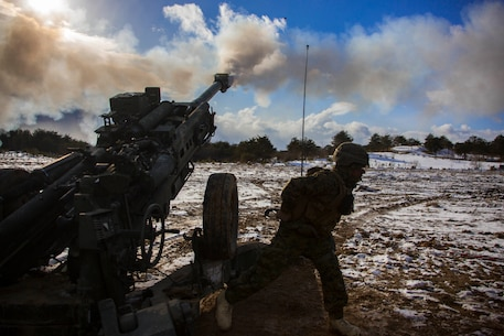 U.S. Marine Corps Lance Cpl. Johnathan Delgado, a field artillery Marine with 3rd Battalion, 12th Marine Regiment, 3rd Marine Division, fires a M777 Howitzer in the Ojojihara Maneuver Area, Miyagi Prefecture, Japan, Feb. 10, 2019.