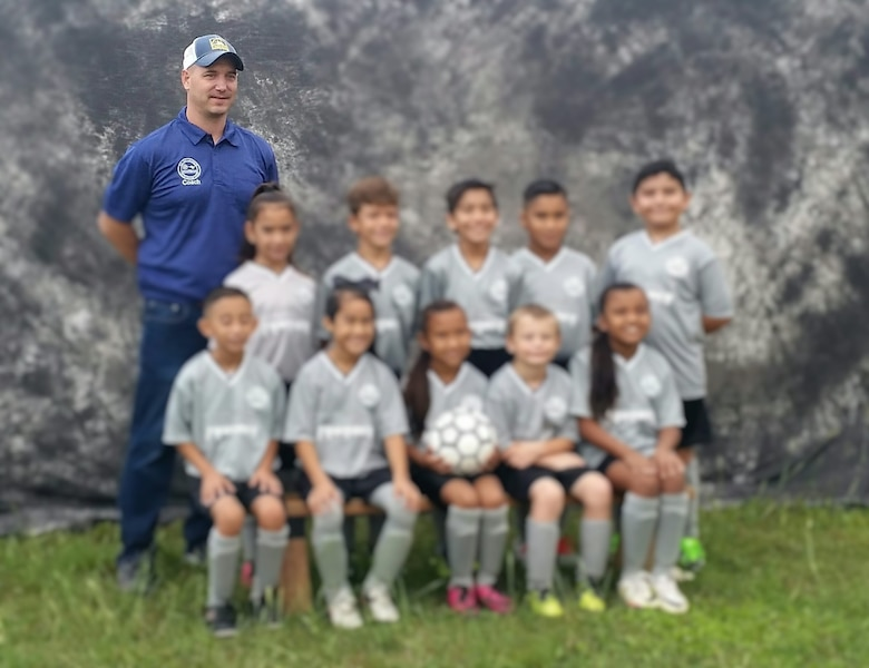Lt. Col. Brian Boettger, 96th Flying Training Squadron instructor pilot, coaches for various youth sports in Del Rio, including for this children's soccer team. Boettger and his family have embraced the Del Rio, Texas, community outside Laughlin Air Force Base and invite others to give the community a try. (Courtesy photo)