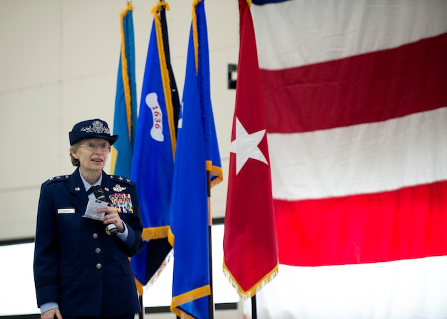 U.S. Air Force Maj. Gen. Carol Timmons addresses the crowd during a change of command ceremony at the Army Aviation Facility, New Castle, Del., March 2, 2019. Timmons served as the first female TAG of the DNG and first female Major General in the DNG. (U.S. Air National Guard photo by Senior Airman Katherine Miller)