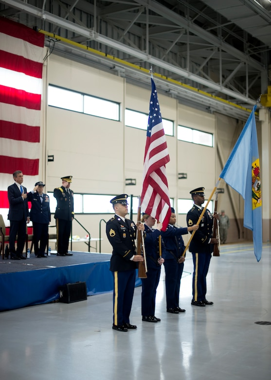 The Delaware National Guard present the colors during a change of command ceremony at the Army Aviation Facility, New Castle, Del., March 2, 2019. Prior to his new position as The Adjutant General, U.S. Army Brig. Gen. Michael Berry served as the Director of the DNG Joint Staff. (U.S. Air National Guard photo by Senior Airman Katherine Miller)