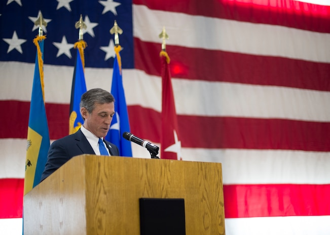 Delaware Governor John Carney addresses the crowd during a change of command ceremony at the Army Aviation Facility, New Castle, Del., March 2, 2019. Berry's nomination was selected by Carney and was confirmed by the Delaware State Senate. . (U.S. Air National Guard photo by Senior Airman Katherine Miller)