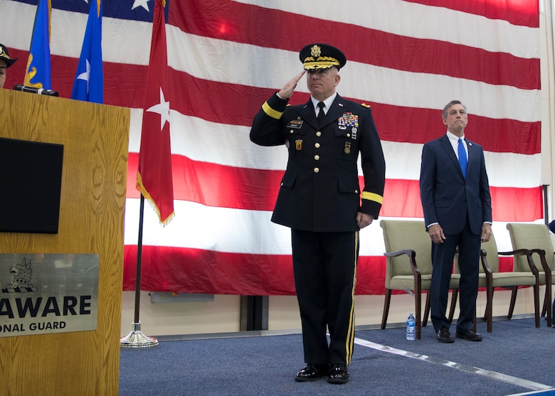 U.S. Army Brig. Gen Michael Berry renders his first salute to the Delaware National Guard during a change of command ceremony at the Army Aviation Facility, New Castle, Del., March 2, 2019. Berry has served in the Delaware Army National Guard since 1988 and has served in multiple command positions throughout his career. (U.S. Army National Guard photo by Specilist Laura Michael)