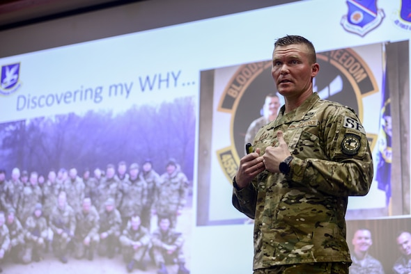 "Maj. Shawn Chamberlin, Kirtland Talks featured speaker, presents his talk ""Defining your why,"" at Kirtland Air Force Base, N.M., Feb. 28, 2019. The Kirtland Talks program was created for Team Kirtland to give short, inspirational speeches on various topics with hopes of inspiring and motivating Kirtland personnel. (U.S. Air Force photo by Staff Sgt. Kimberly Nagle)"