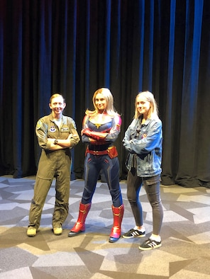 Capt. Danielle Park (left), 311th Fighter Squadron instructor pilot, poses with the Captain Marval Disney character impersonator in Los Angeles, Calif, March 4, 2019. Park was invited to attend the premiere of Captain Marval after giving the actress, Brie Larson, a ride in an F-16 Fighting Falcon while stationed at Nellis Air Force Base, Nev. (Courtesy photo)