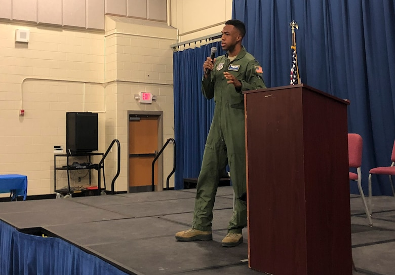 Capt. Alex Flowers, 14th Airlift Squadron C-17 Globemaster III pilot, shares his personal story of becoming a pilot during a school presentation Feb. 28, 2019, at North Charleston High School, Charleston, S.C.