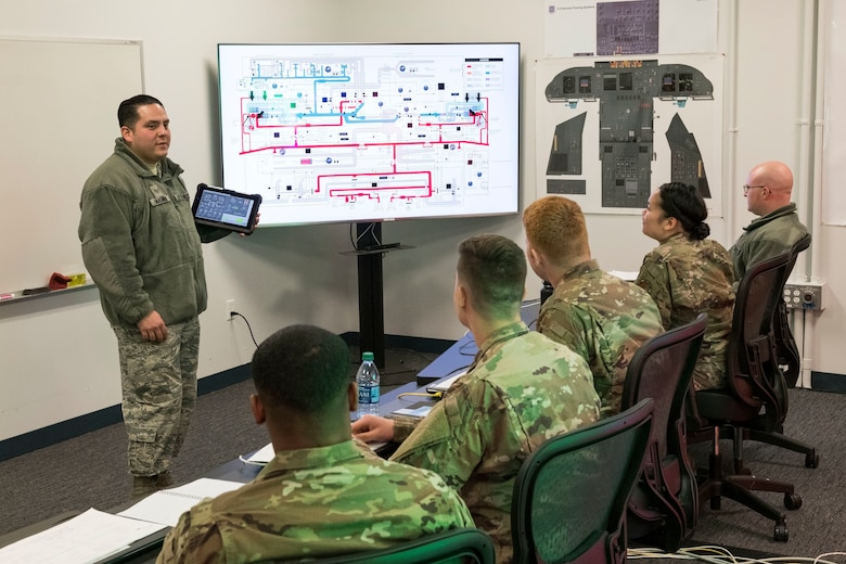 Students watch as Staff Sgt. Jose Cardona, 373rd Training Squadron, Detachment 3, C-5M Electrical and Environmental Systems instructor, uses the Interactive Multimedia Instruction tablet for the C-5 Air Conditioning and Pressurization Systems Trainer in conjunction with an interactive schematic of the C-5M environmental and pressurization system Feb. 20, 2019, at the 373rd TRS, Det 3, on Dover Air Force Base, Del. The IMI and schematic allows Cardona to train students on the AC & PST by monitoring actions, inputting malfunctions and simulating on-the-ground or inflight scenarios. (U.S. Air Force photo by Roland Balik)