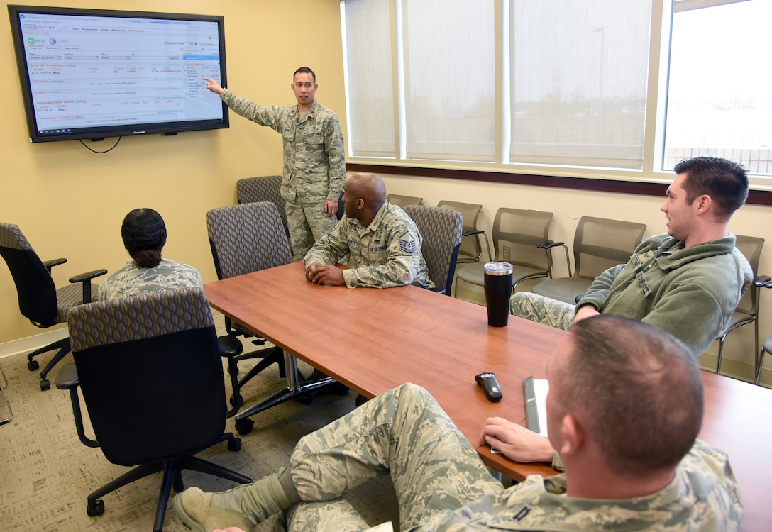 Maj. Karl Bituin, 72nd Medical Support Squadron diagnostics and therapeutics flight commander, guides members of the squadron through training on the new Q-Flow kiosk system for pharmacy prescriptions. (U.S. Air Force photo/Kelly White)