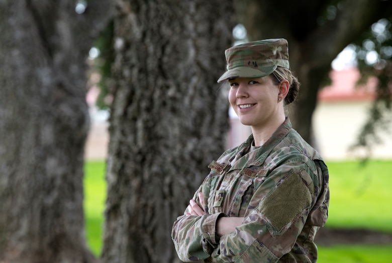 Staff Sgt. Emily Johnson, 349th Aeromedical Staging Squadron admin assistant, poses for a photo at Travis Air Force Base, Calif., on March 4, 2019. In January, Johnson helped save lives in a multiple car crash on Interstate 80 near Fairfield, Calif. during rush hour. (U.S. Air Force photo by Staff Sgt. Daniel Phelps)