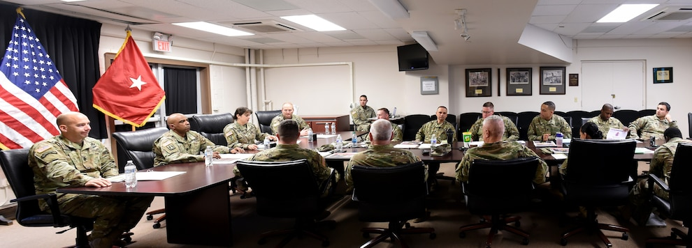 Brig. Gen. Kris A. Belanger, Commanding General, 85th U.S. Army Reserve Support Command, along with 5th Armored Brigades command team, conduct a command brief with Army Reserve battalion commanders and staff, operationally controlled by First Army's 5th Armored Brigade, during a command site visit, there, at Fort Bliss, Texas, March 1-3, 2019.