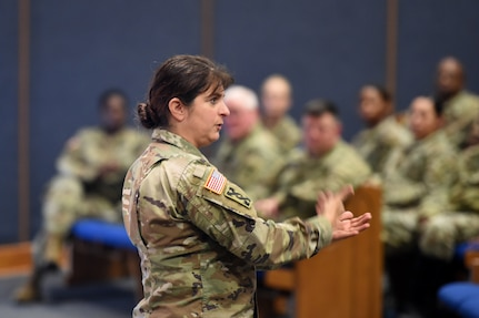 Brig. Gen. Kris A. Belanger, Commanding General, 85th U.S. Army Reserve Support Command, conducts a town hall session with her assigned Army Reserve Soldiers, currently mobilized to First Army's 5th Armored Brigade, at Fort Bliss, Texas, March 1-3, 2019.