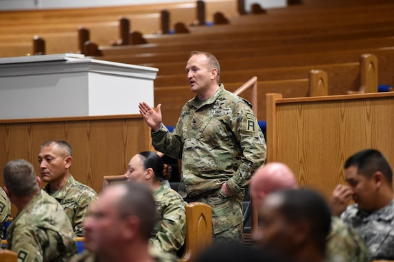 Col. Martin Schmidt, brigade commander for First Army's 5th Armored Brigade, provides insight to questions from mobilized Army Reserve Soldiers, during a town hall conducted by Brig. Gen. Kris A. Belanger, Commanding General, 85th U.S. Army Reserve Support Command, at Fort Bliss, Texas, March 1-3, 2019.