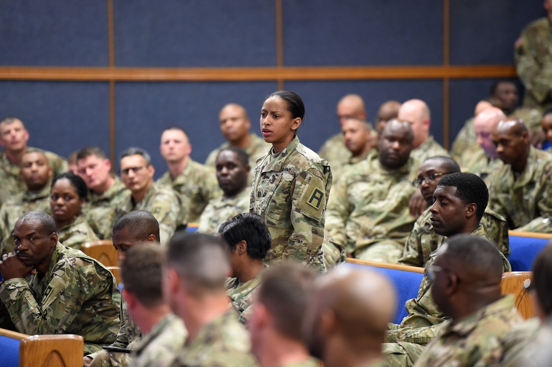 A mobilized Army Reserve Soldier asks a question, during a town hall conducted by Brig. Gen. Kris A. Belanger, Commanding General, 85th U.S. Army Reserve Support Command, at Fort Bliss, Texas, March 1-3, 2019.