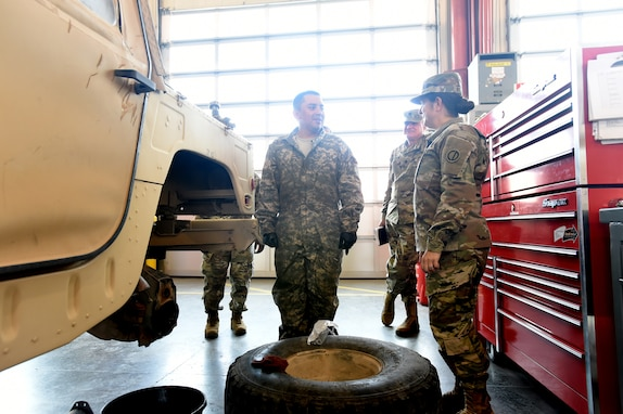 Brig. Gen. Kris A. Belanger, right, Commanding General, 85th U.S. Army Reserve Support Command, briefly meets with Staff Sgt. Alexander Lopez, 91B, (Wheeled Vehicle Mechanic) assigned to 1st Battalion, 382nd Regiment, 85th U.S. Army Reserve Support Command, operationally controlled by First Army's 5th Armored Brigade, at Fort Bliss, Texas, March 1-3, 2019.