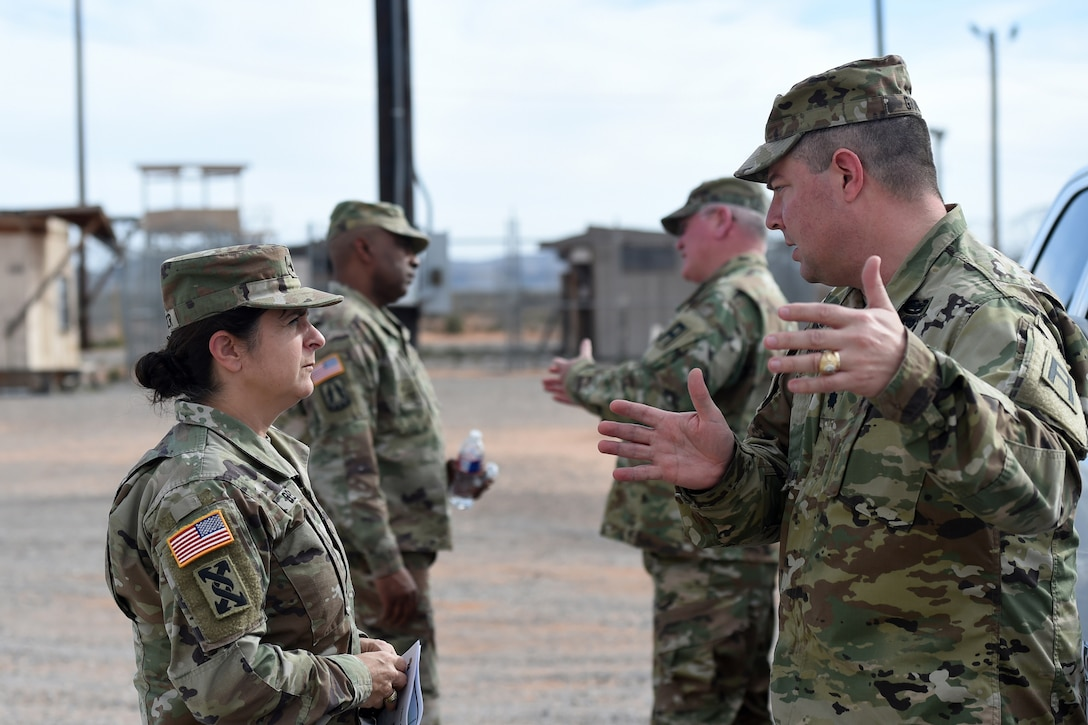 Lt. Col. David Graves, right, battalion commander of the 1st Battalion, 289th Regiment, 85th U.S. Army Reserve Support Command, gives a brief to Brig. Gen. Kris A. Belanger, Commanding General, 85th USARSC, during Belanger's command visit, there at Fort Bliss, Texas, March 1-3, 2019.