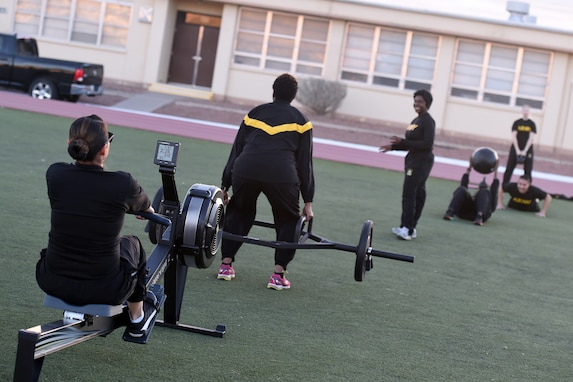 Army Reserve Soldiers, assigned to the 85th U.S. Army Reserve Support Command and operationally controlled by First Army's 5th Armored Brigade Headquarters, conduct morning physical training, focused on body movements around the developing Army Combat Fitness Test, Mar. 3, 2019.