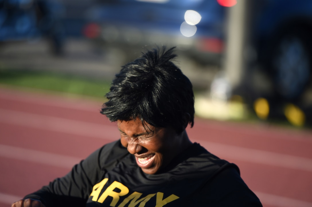 First Sgt. Heather West, assigned to the 85th U.S. Army Reserve Support Command and operationally controlled by First Army's 5th Armored Brigade Headquarters, conducts morning physical training, focused on body movements around the developing Army Combat Fitness Test, Mar. 3, 2019.