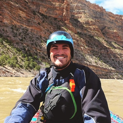 JENSEN, UTAH--Jonathan Sedmak, 21st Force Support Squadron, rafts down the Green River in Dinosaur National Monument, Utah during the Spring of 2017. As a river guide, Sedmak helps to provide safe passage for Airmen through whitewater rapids. (Courtesy photo)
