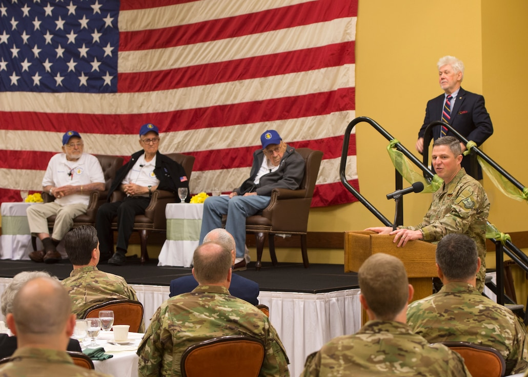 Commander of the 1st Special Operations Wing gives closing remarks during a veteran discussion panel