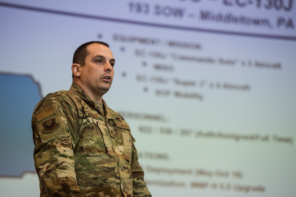 Tech. Sgt. Jody Roof briefs the 193rd SOW mission during a joint recruiting event, Feb. 27, 2019, in Hurlburt Field, Florida.