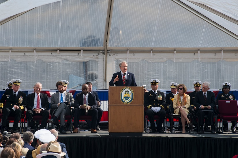 John Tecklenburg, mayor of Charleston, gives a speech at the USS Charleston (LCS-18) commissioning ceremony March 2, 2019, in Charleston, S.C.