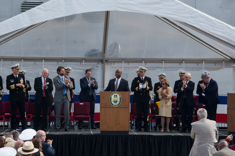 U.S. Sen. Tim Scott of South Carolina gives a speech at the USS Charleston (LCS-18) commissioning ceremony March 2, 2019, in Charleston, S.C.