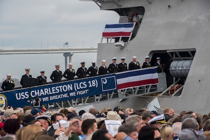 Crew members of the USS Charleston (LCS-18) officially man the ship for the first time at its commissioning ceremony March 2, 2019, in Charleston, S.C.