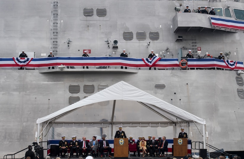Cmdr. Christopher Brusca, USS Charleston (LCS-18) commanding officer, speaks to the assembled crowd at the ship's commissioning ceremony March 2, 2019, in Charleston, S.C.