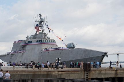 The USS Charleston (LCS-18) is docked at the Port of Charleston, S.C., after its commissioning ceremony March 2, 2019.