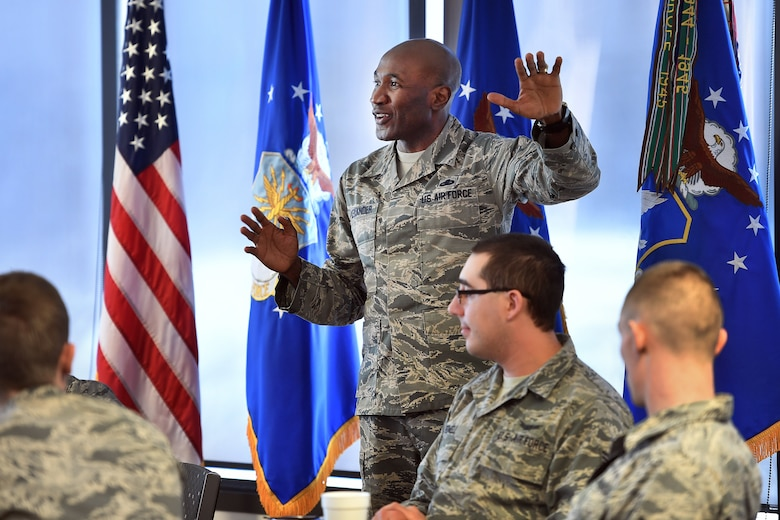 Chief Master Sgt. Boston Alexander, 50th Space Wing command chief, speaks to Wing Airmen during the Airmen's Lunch at the Satellite Dining Dish facility, Schriever Air Force Base, Colorado, March 5, 2019. The event allows leadership and Airmen to connect in a casual/informal environment allowing for a more personal interaction. (U.S. Air Force photo by Dennis Rogers)
