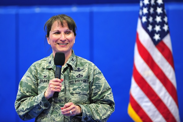 "50th Space Wing commander, Col. Jennifer Grant, congratulates the wing during a commander's call at the Schriever Air Force Base, Colorado, March 5, 2019.  Grant thanked and congratulated the wing for its continued success scoring an ""Effective"" rating on all four major graded areas in the recent Air Force Space Command's Inspector General Unit Effectiveness Inspection capstone event. (U.S. Air Force Photo/Dennis Rogers)"