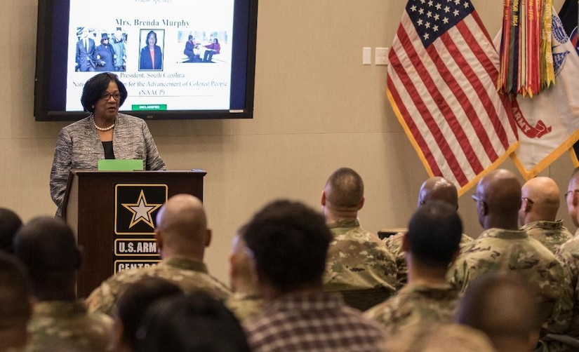 Brenda C. Murphy, president of the. South Carolina state conference of the NAACP, is welcomed as the guest speaker for U.S. Army Central's observance of Black History Month at the command's headquarters, Patton Hall, Shaw Air Force Base, S.C., Feb 13, 2019.