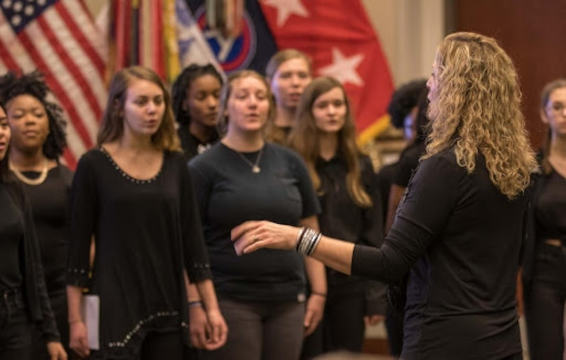 """Crestwood High School's """"Singing Knights"""" choir performed songs with African-American origins during the U.S. Army Central's observance of Black History Month at the command's headquarters, Patton Hall, Shaw Air Force Base, S.C., Feb 13, 2019. The observance supported the 2019 theme """"Black History is American history,"""" with participation from  Brenda C. Murphy, president of the South Carolina state conference of the NAACP."""
