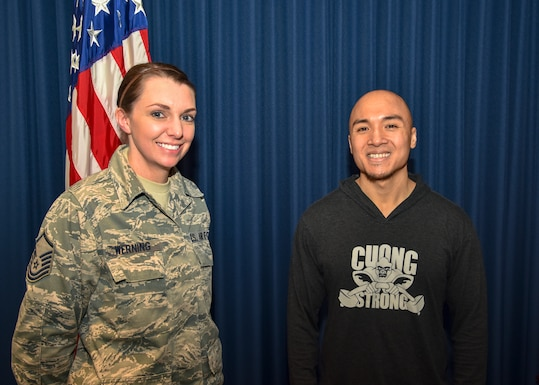 Master Sergeant Jayme Werning, 114th bio-environmental engineer non-commissioned officer in charge and member of the 114th FW Top 3 organization, invited Cuong Nguyen, owner of Cuong Strong Personal Training and Fitness, to speak with members of the wing about the annual physical training test and overall health and fitness.