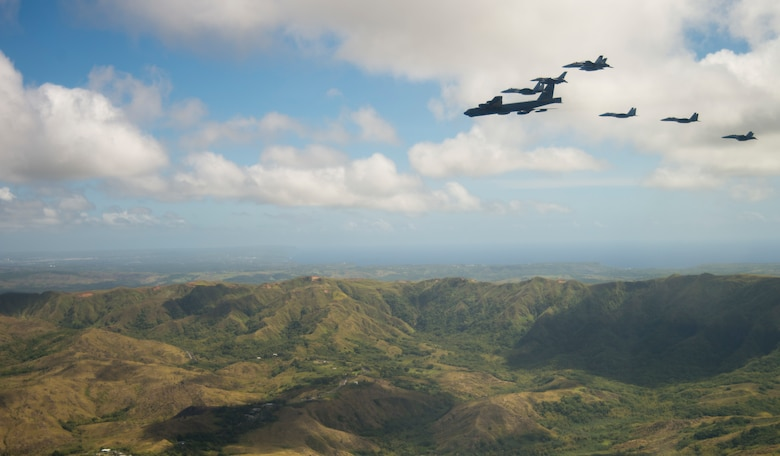Aircraft from the United States, Australia and Japan participating in COPE North 2019, engage in an airpower demonstration formation over Guam, March 6, 2019.