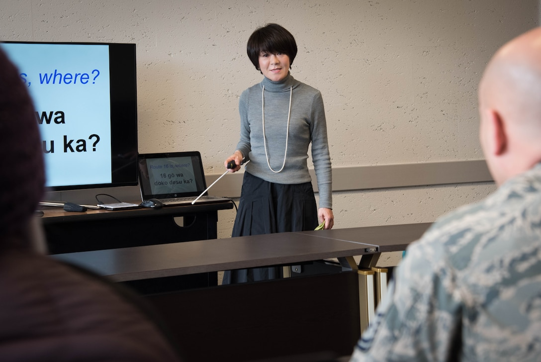 Mika Onodera, Survival Japanese Course instructor, reviews previous lesson during survival Japanese course at Yokota Air Base, Japan, Feb. 26, 2019.